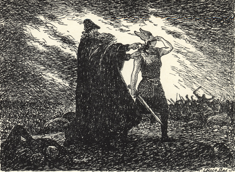 Óðinn and Vébjörg at The Battle of                                 Brávellir
