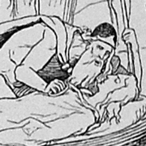 Digital image of the illustration on page 285 of Karl                             Gjellerup's 1895 edition of the Poetic Edda, entitled Den Ældre Eddas Gudesange.
